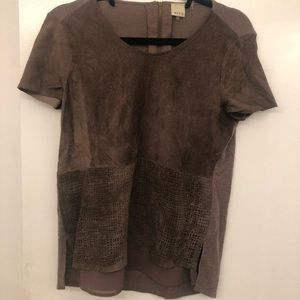 Suede front shirt